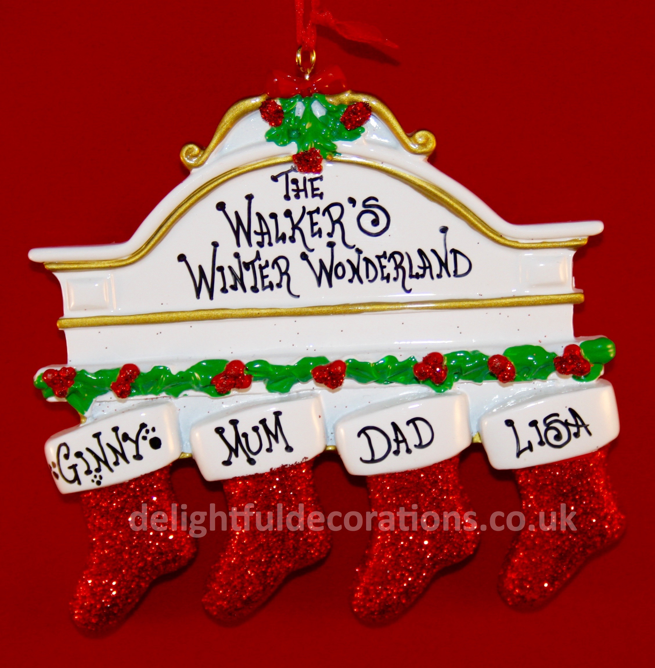 White Mantle 4, personalised Christmas decoration for 5 people.
