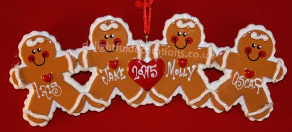 Personalised gingerbread family decoration for 4 people. Couldn't you just eat them alive!!