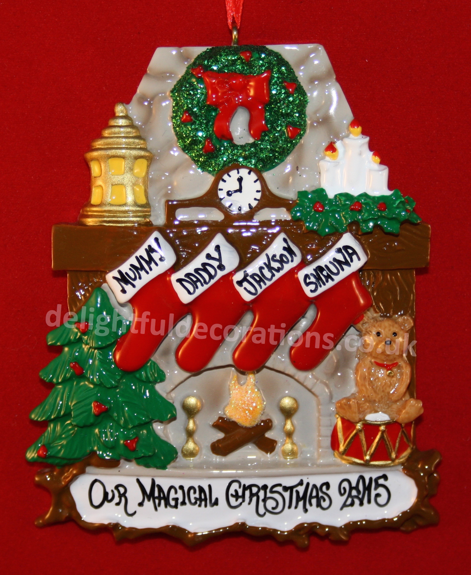 Personalised Christmas Decoration For 4 People. The Fun And Traditional  Fireplace 4