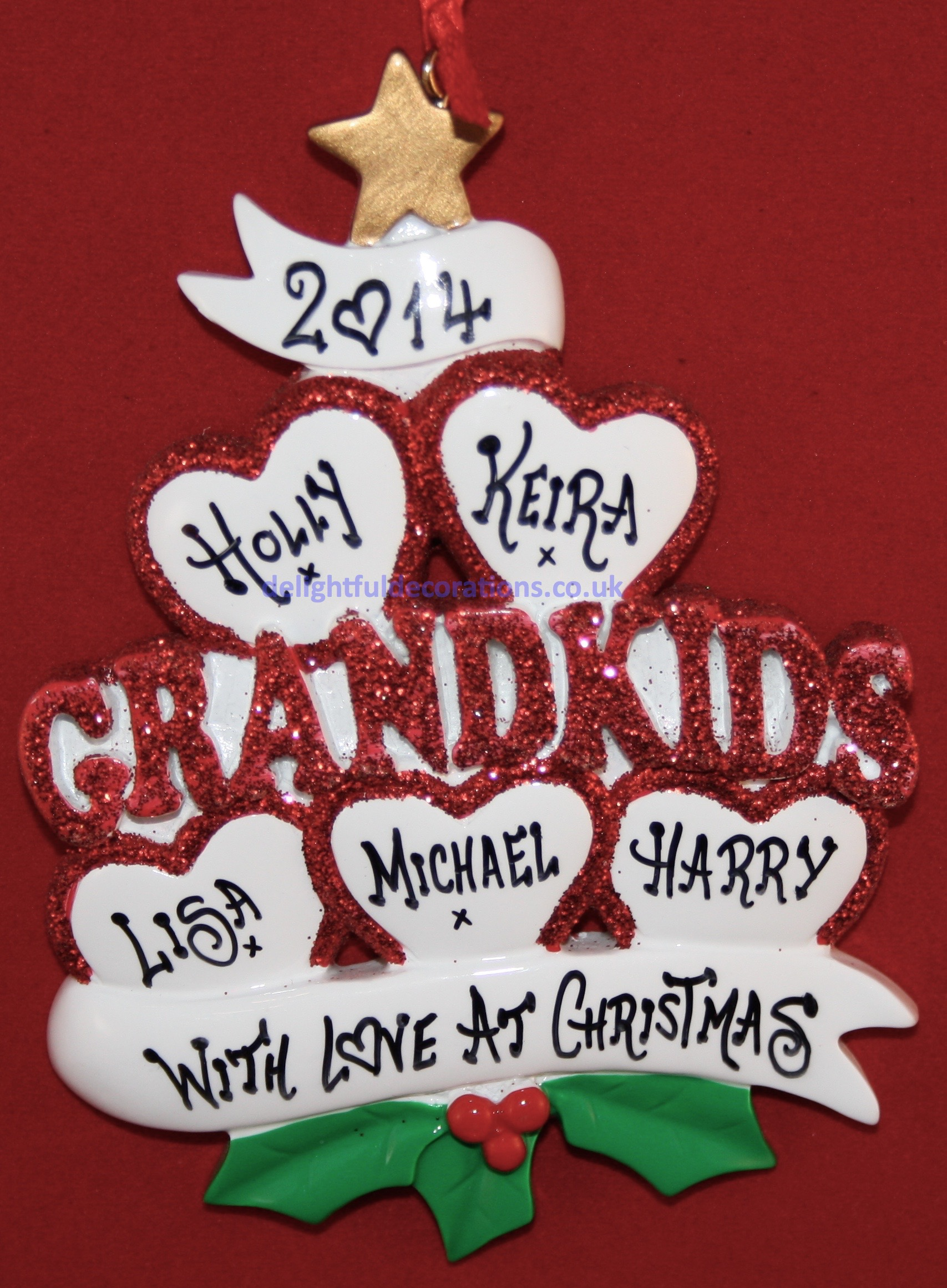 Love The Grandkids 5, Personalised Christmas Decoration.